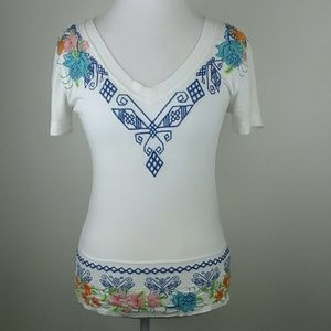 JWLA Johnny Was Embroidered Top Size Medium